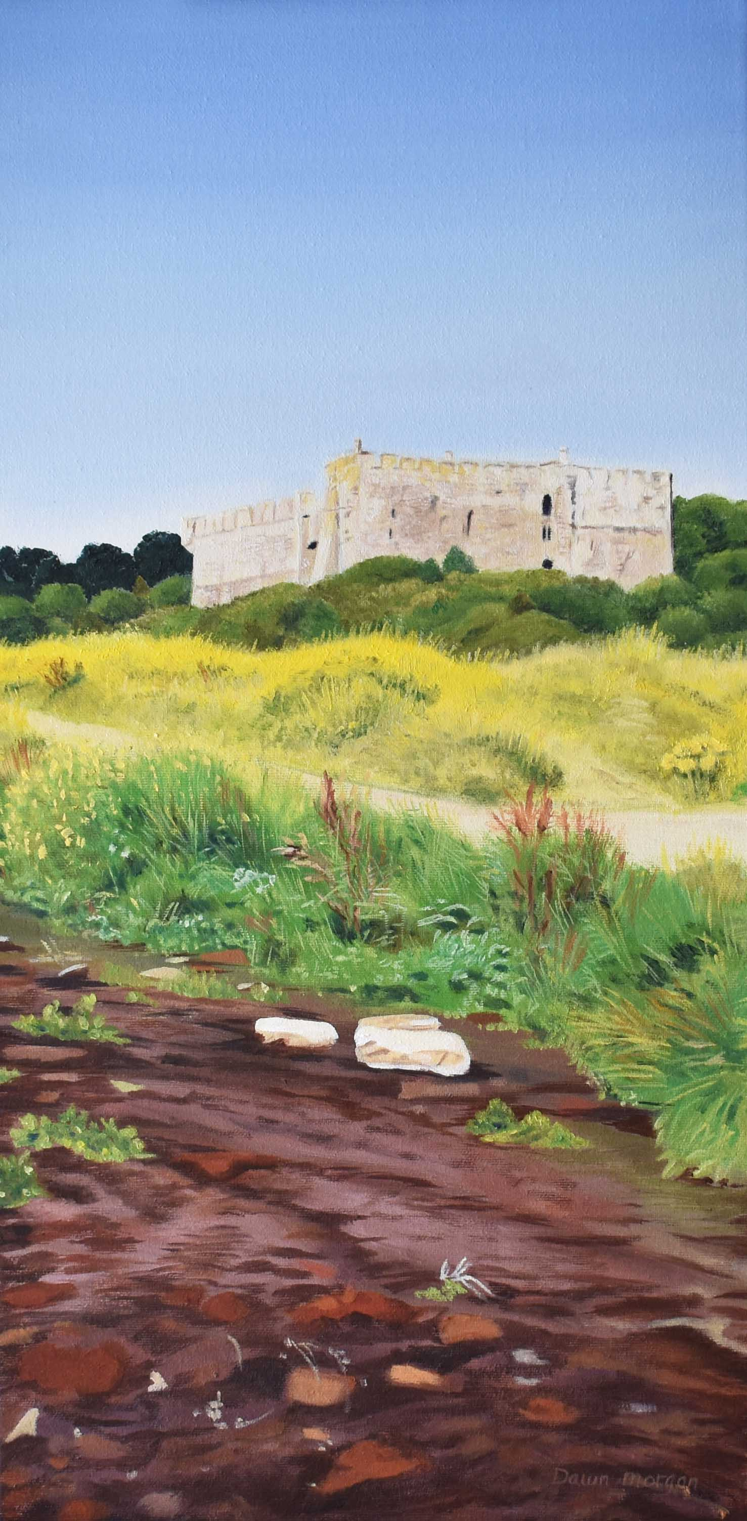 Manorbier stream and castle Dawn Morgan Oil on Canvas for Picton Castle