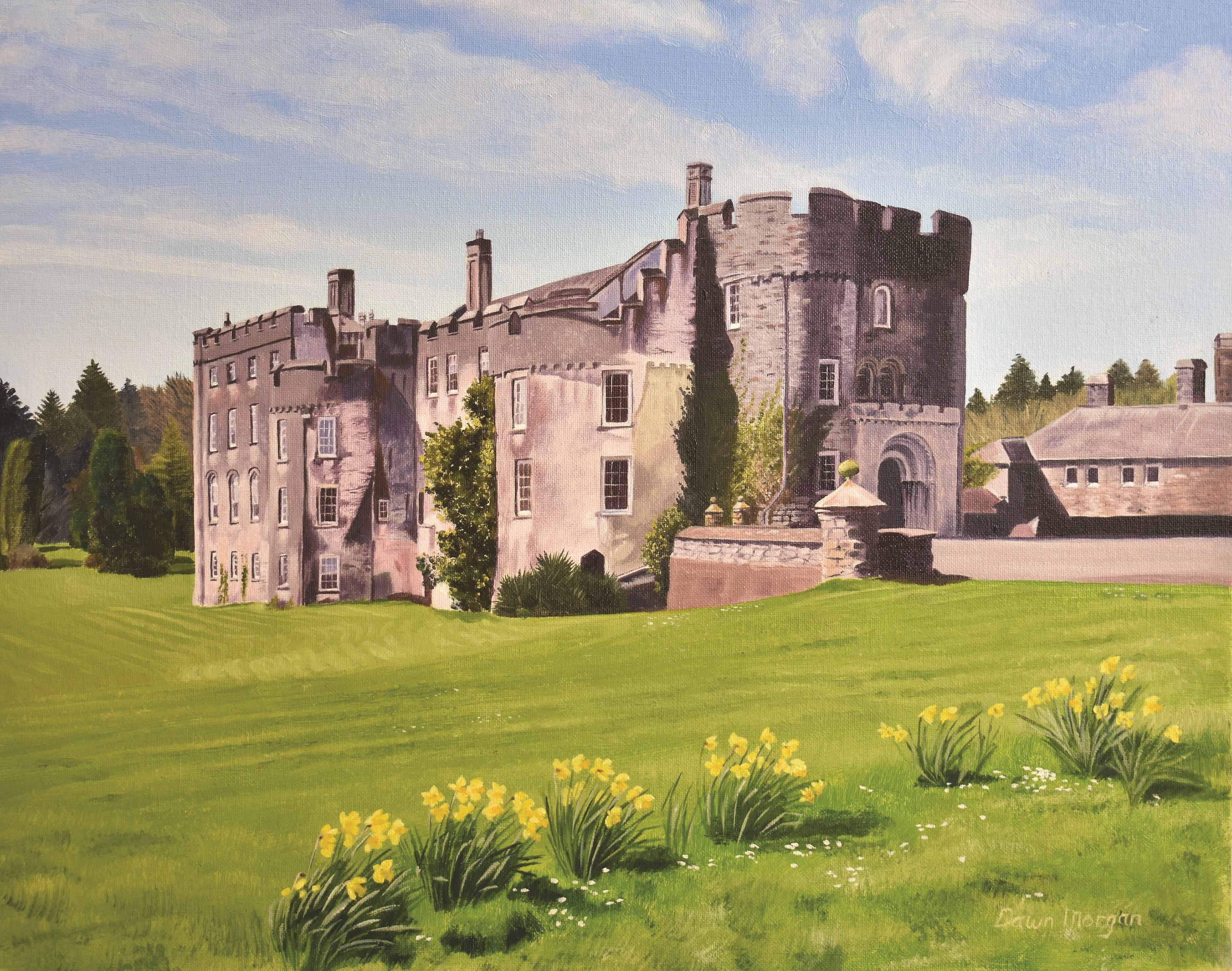 Picton Castle spring Dawn Morgan Oil on Canvas for Picton Castle